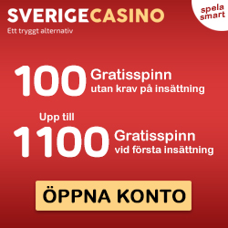 SverigeCasino - 100 gratis spins & 1000 free spins & 100% bonus